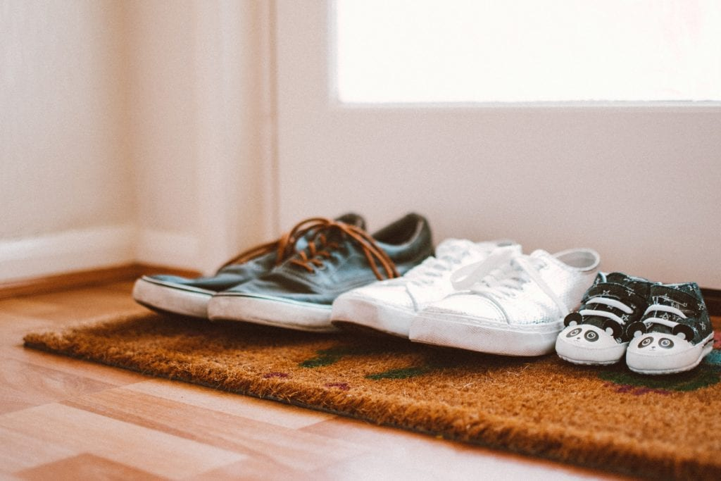 Home organizing best practice: take shoes off at entrance