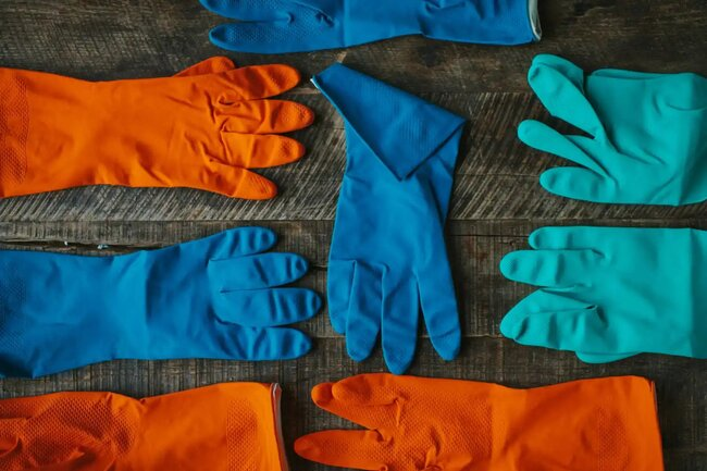 gloves and protective gear for picking up vomit