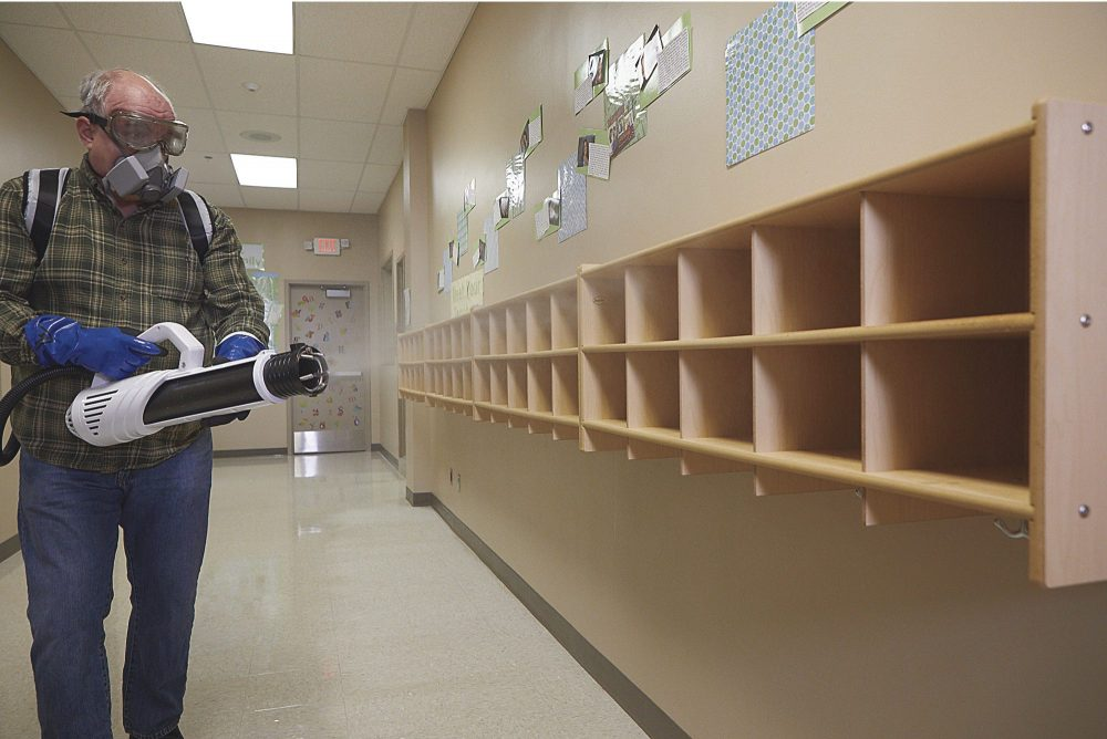 electrostatic spraying of schools