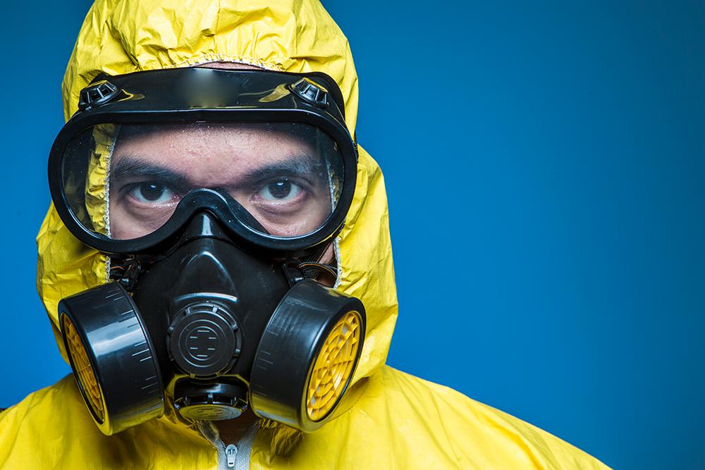 biohazard cleanup hazmat suit