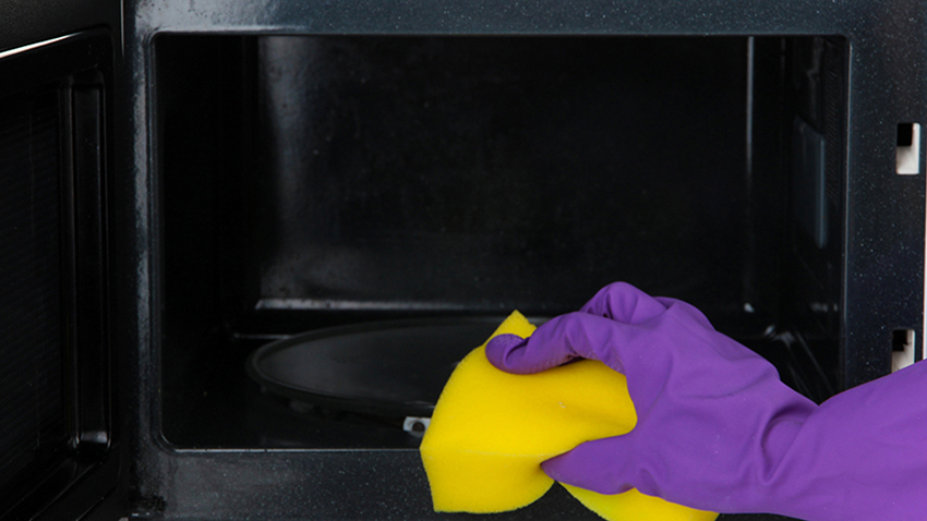 cleaning a microwave with a sponge