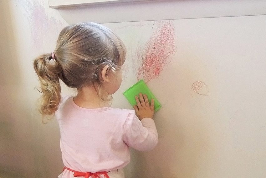 how to clean crayon off walls