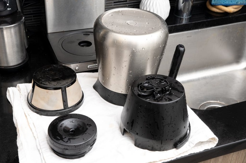 cleaning a coffee maker